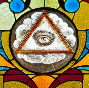 The All Seeing Eye of God. Many visitors ask about this symbol, mistakenly believing that it originated with the Free Masons.