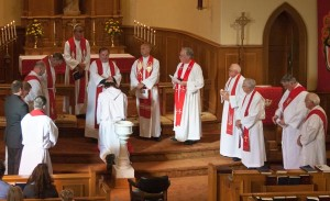 Pastor Hatcher accepted Trinity's Call. At his installation service, the Lutheran clergy in the area came together and one by one laid their hands on him and blessed him.