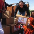 Distributing aid to Syrian refugees