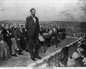 Lincold giving Gettysburg Address