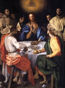 Cena in Emmaus by Jacopo da Pontormo, painted in 1525 shows the use of the all seeing eye surrounded by a triangle representing the trinity.