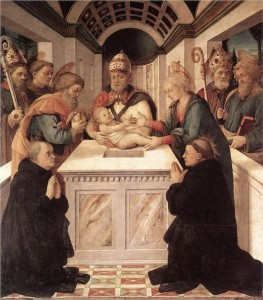 Flemish painting showing Jesus being circumcised in the temple.