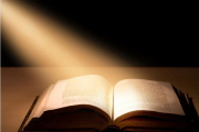 Bible illuminated by light